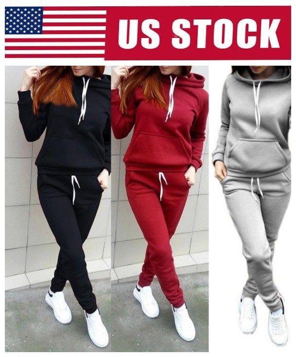 fc580692922 Women s Tracksuit Hoodies Sweatshirt Pants Sets Sport Wear Casual Jogging  Suit  Unbranded The best fitness
