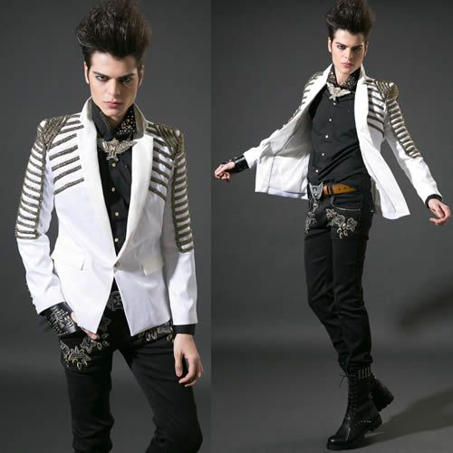 men white slim fit fashion goth punk rock prom suit jacket