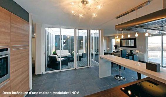 vue sur le patio de la maison modulaire inov maisons pinterest maisons modulaires. Black Bedroom Furniture Sets. Home Design Ideas