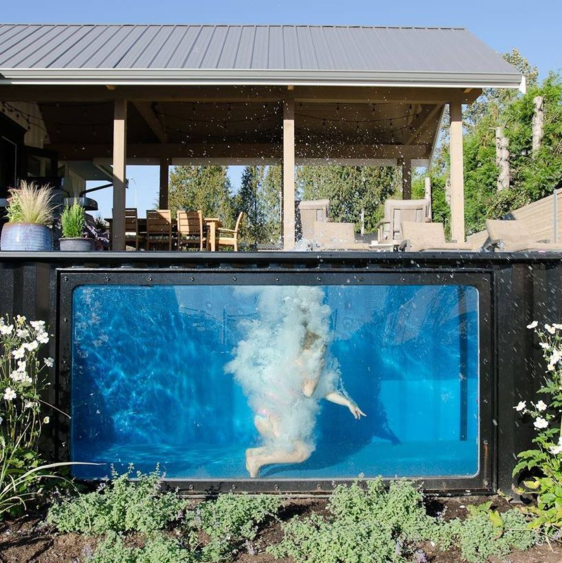 take a dip in modpoolsu0027 shipping container swimming pool - villa mit garten und pool