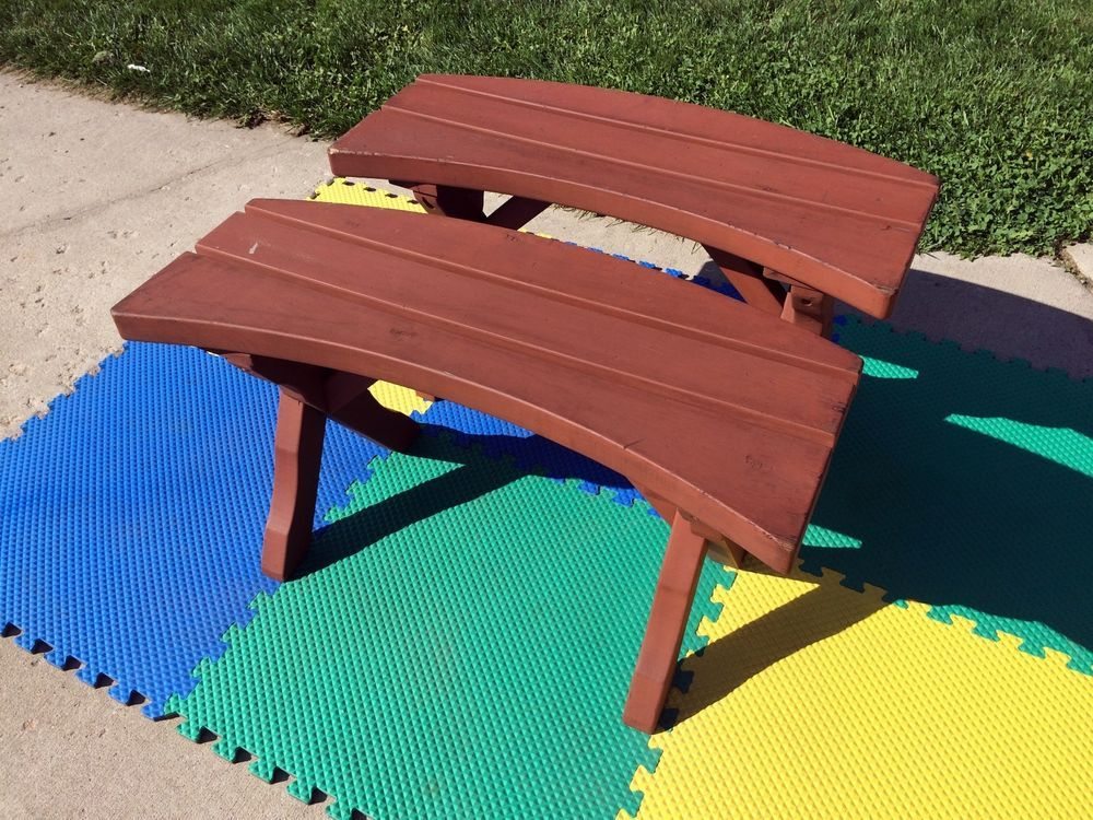 VINTAGE 60s VANDY CRAFT ROUND REDWOOD PATIO TABLE BENCH CHAIR SET/2  MID CENTURY