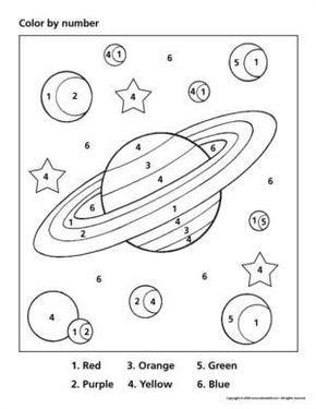 space color by number crafts and worksheets for preschool toddler and kindergarten sz nez k. Black Bedroom Furniture Sets. Home Design Ideas