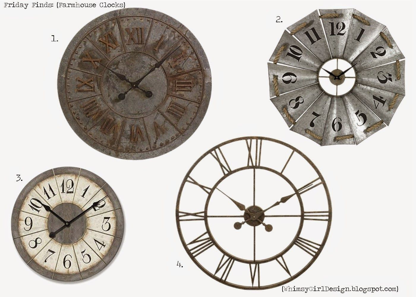 whimsy girl design: friday findsfarmhouse clocks. metal