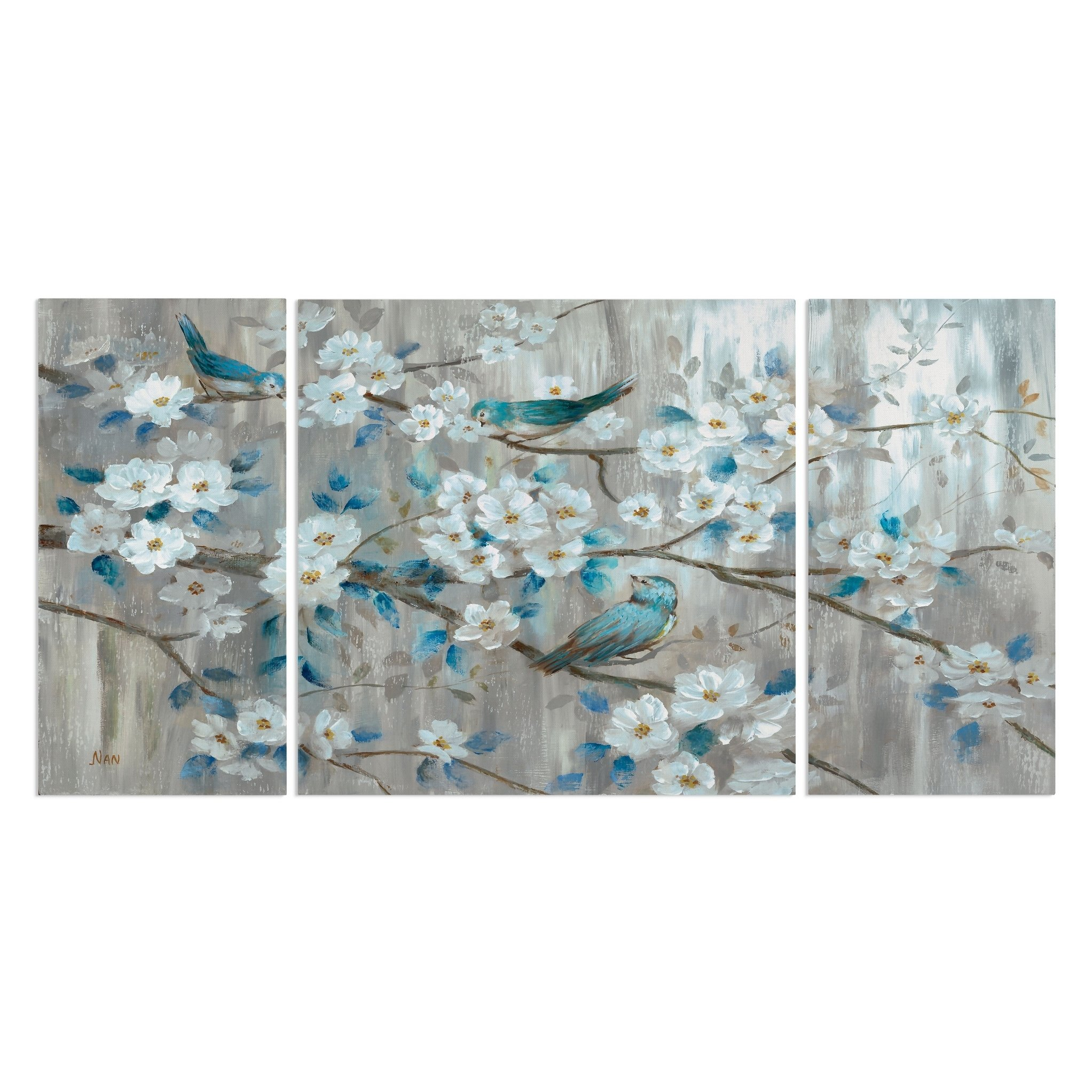 Teal Birds 3 Piece Canvas Wall Art Extra Large Blue Wexford Home Teal Bird Wall Canvas Bird Canvas