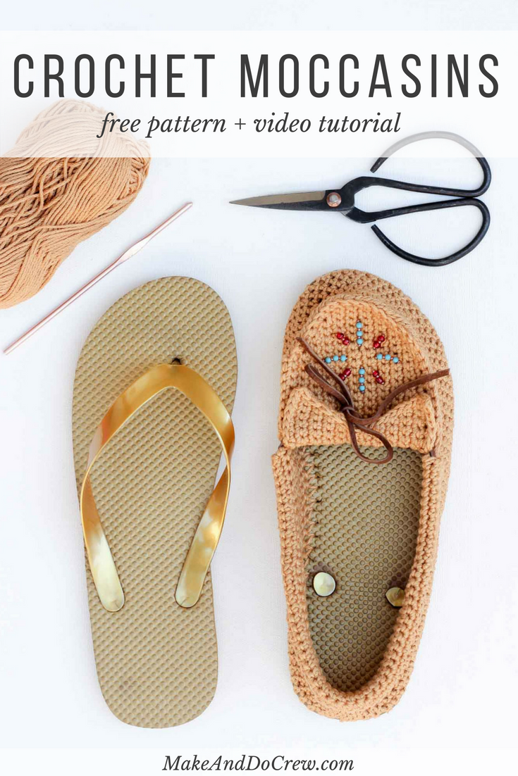f4400d1bdc4868 Learn how to crochet shoes with flip flop soles with this free crochet  moccasin pattern and video tutorial! These crochet moccasins make super  comfortable ...