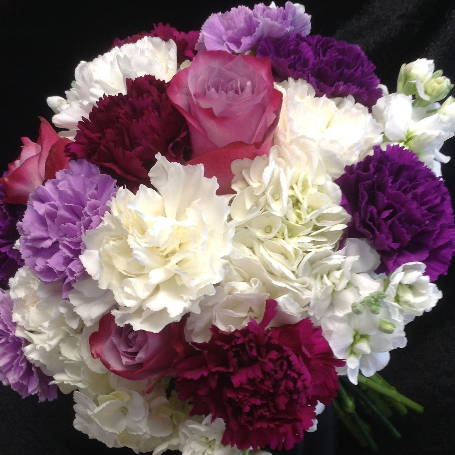 Hydrangea Carnation And Rose Bouquet Wedding Bouquets Wedding Flowers Rose Bouquet