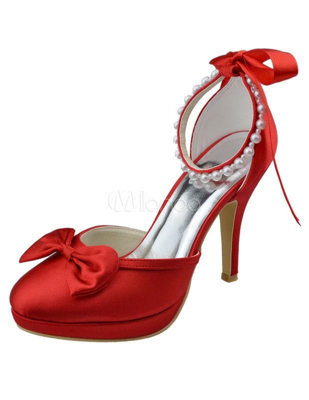Shoes amp; Con Zapatos Satén Y Rojo De Lazo Perlas qwpP10