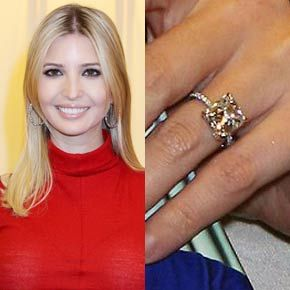 Ivanka trump wears a six carat cushion cut ring from her for Melania trump wedding ring cost