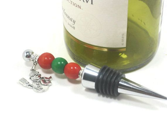 Decorative Wine Bottle Stoppers Magnificent Snowman Beaded Wine Bottle Stopper  Winter Inspired Wine Gift Review