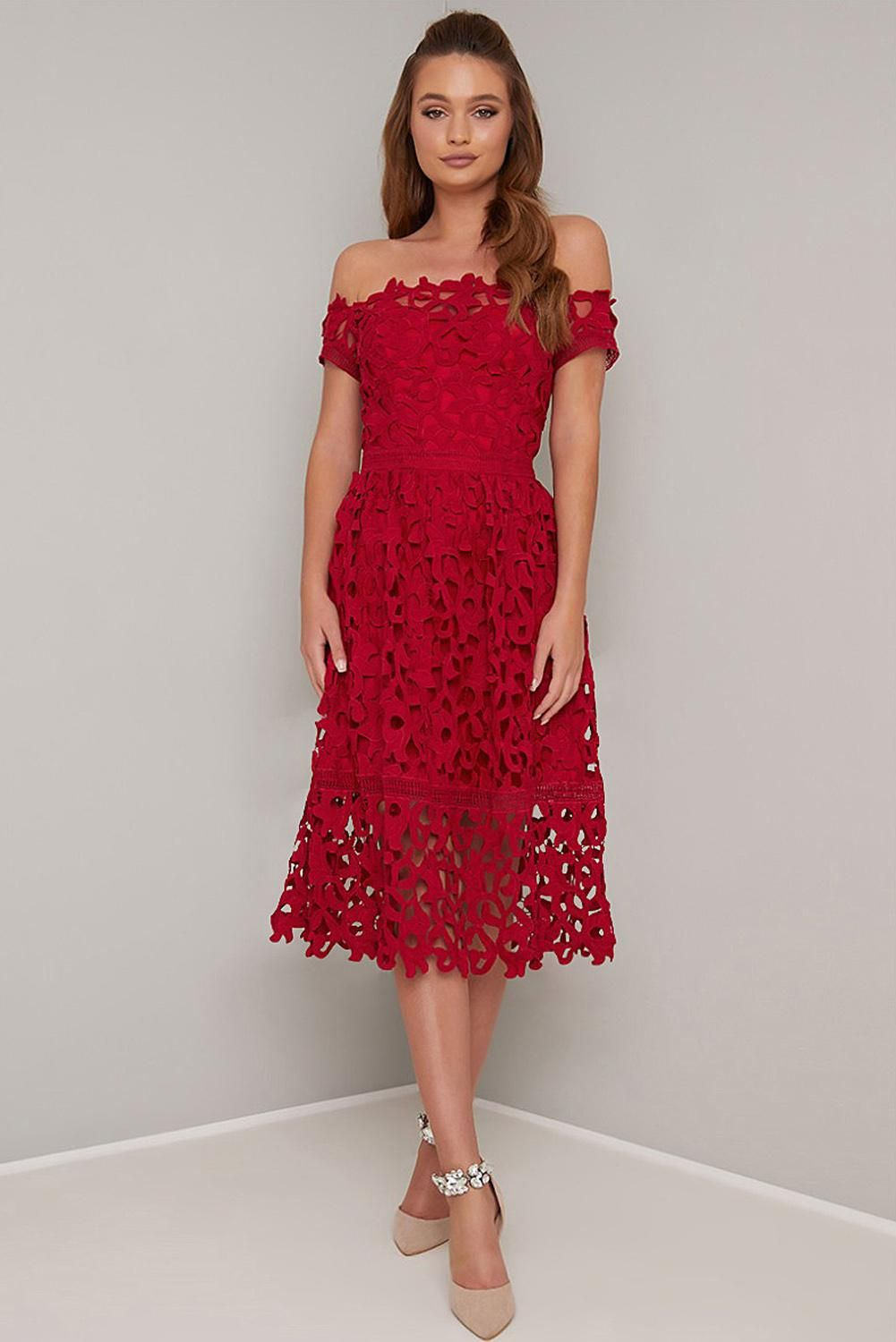 Red Patchwork Off Hollow Out Shoulder Short Sleeve Regular Crochet Party Dress In 37 98 Crochet Party Dresses Prom Midi Dress Dresses