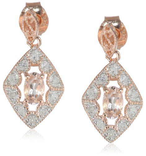 Amazon.com: 10k Rose Gold and Sterling Silver Morganite and Diamond Earrings (0.1 cttw GH, Color, I2-I3 Clarity): Jewelry
