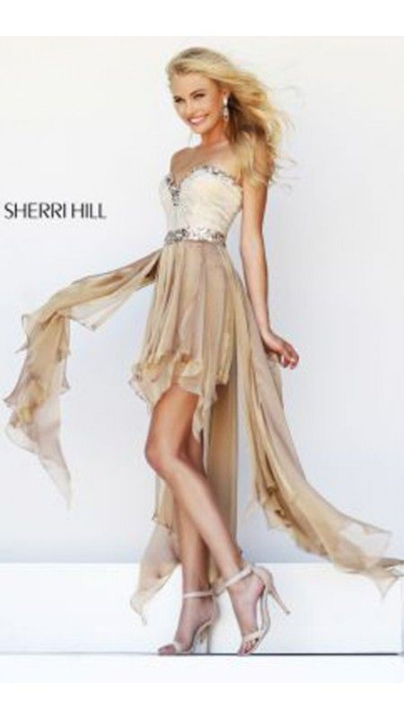 Nude Sherri Hill 1920 High Low Beads Cocktail Dress
