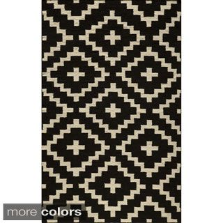 Mersa Diamonds Black Flat Weave Reversible Wool Dhurrie Rug (5u0027 X 8u0027)
