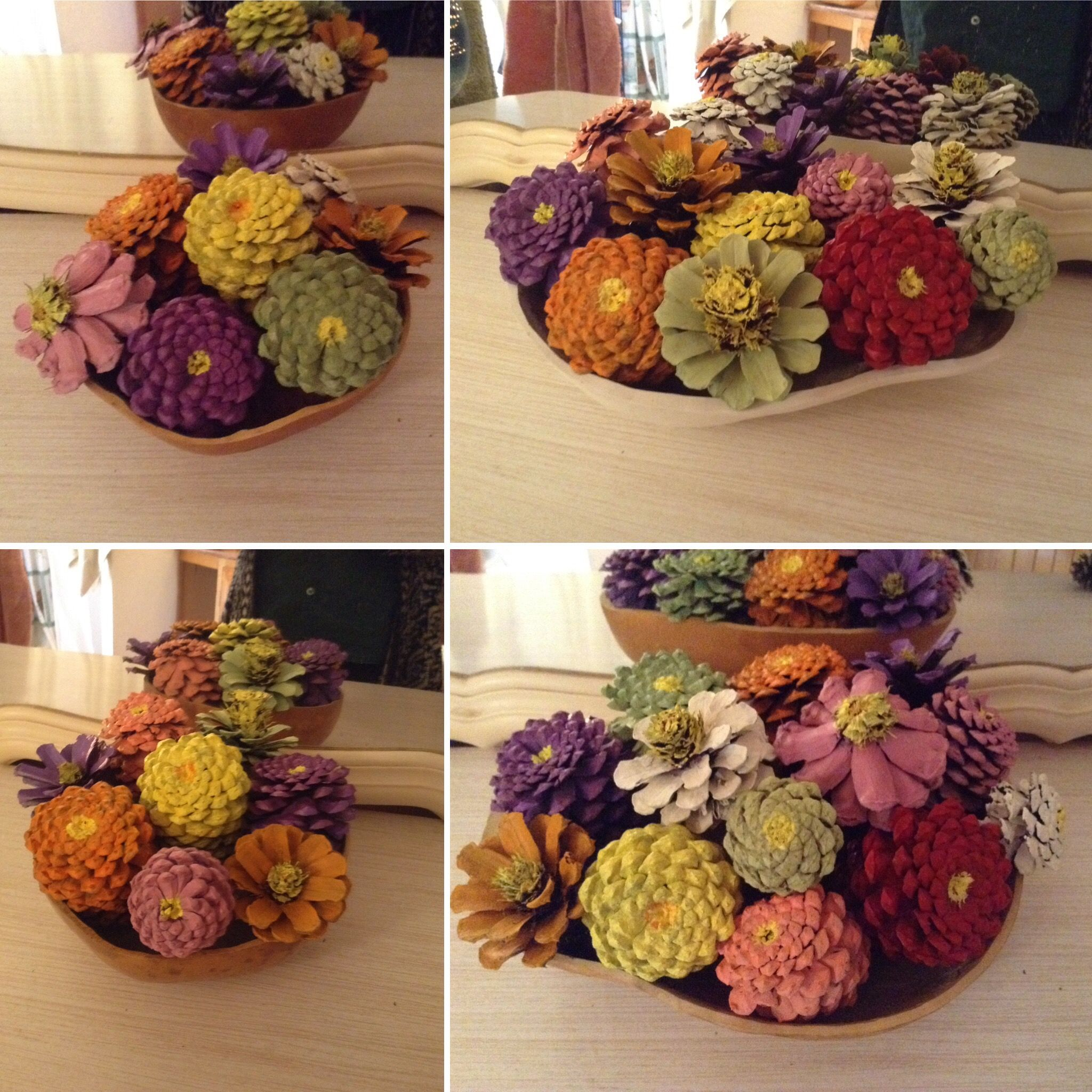 Pine Cone Flowers Displayed In Gourd Bowl Vases By Gourd Nature Artist Cathy Nyman Painted Pinecones Cones Crafts Gourd Art