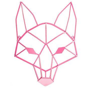Brown Geometric Fox Head Metal Wall Decor | Baby Number Three ...
