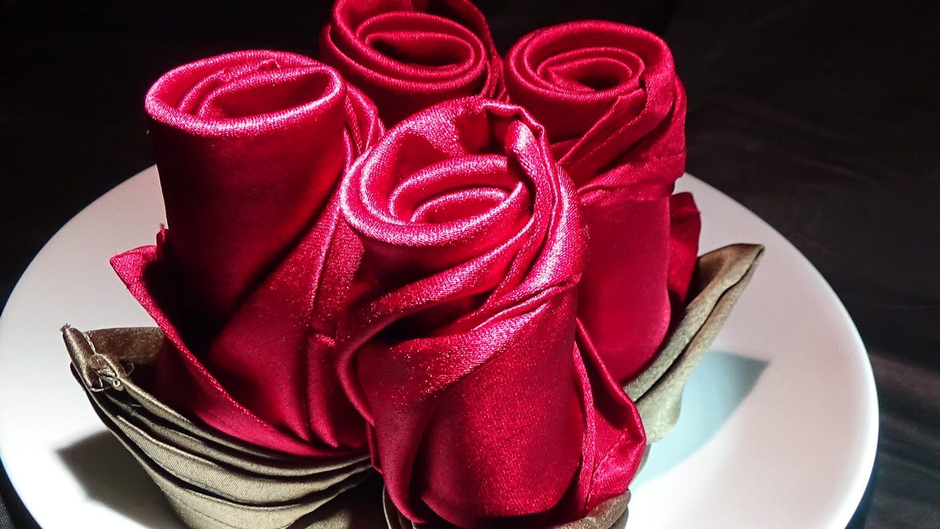For that special occasion! Rose napkin folding: Long Rose Bud & Short Ro...   Napkin folding ...