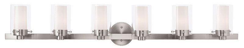 Photo of Livex Lighting 15456-91 Brushed Nickel Manhattan 6 Light Bathroom Basin Lamp – LightingDirect.com