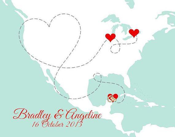 Personalized map destination wedding north america mexico personalized map destination wedding north america mexico canada caribbean 11x14 gumiabroncs Choice Image