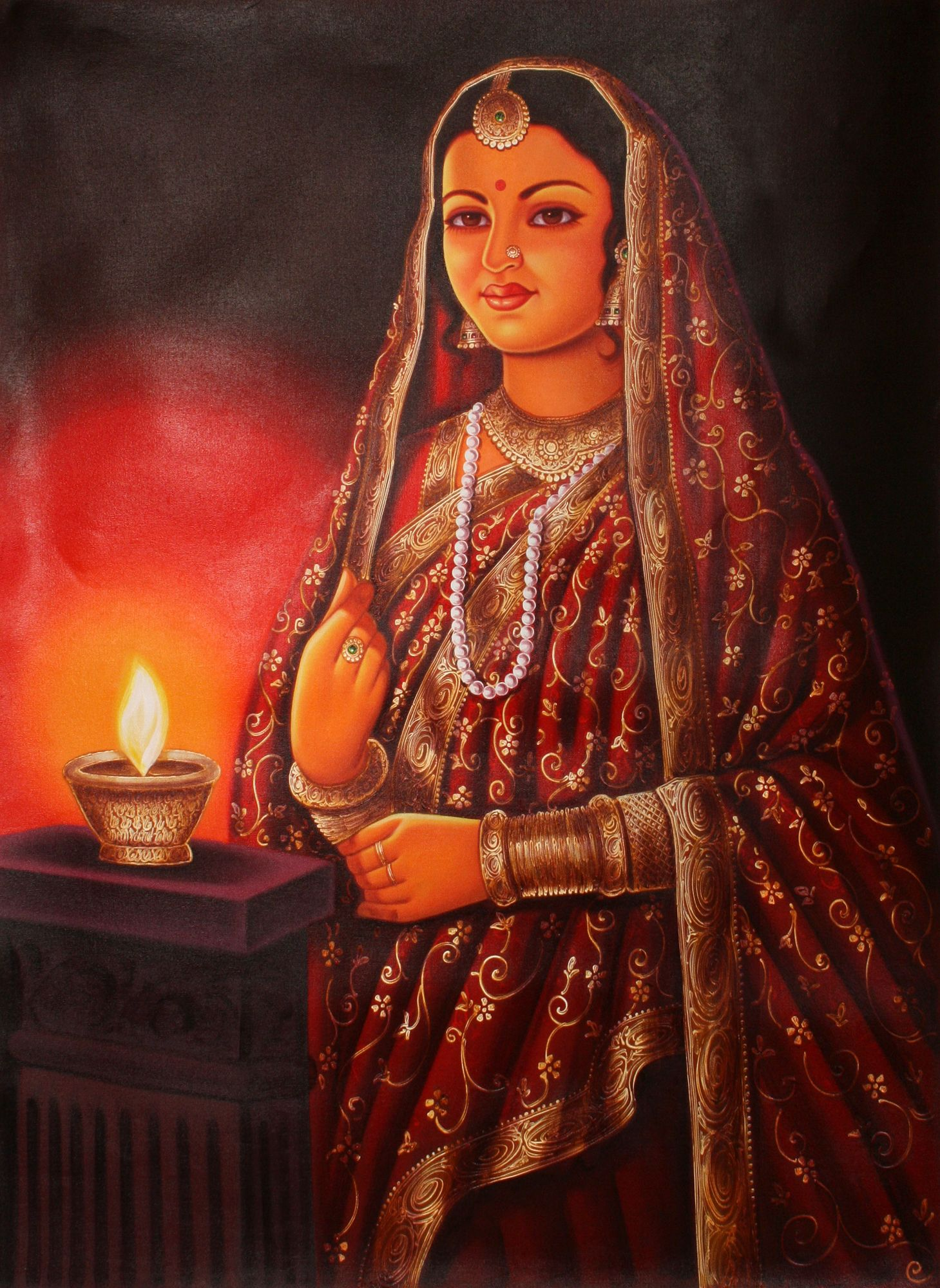 Lady with Lamp in 2020 Indian art paintings, Modern