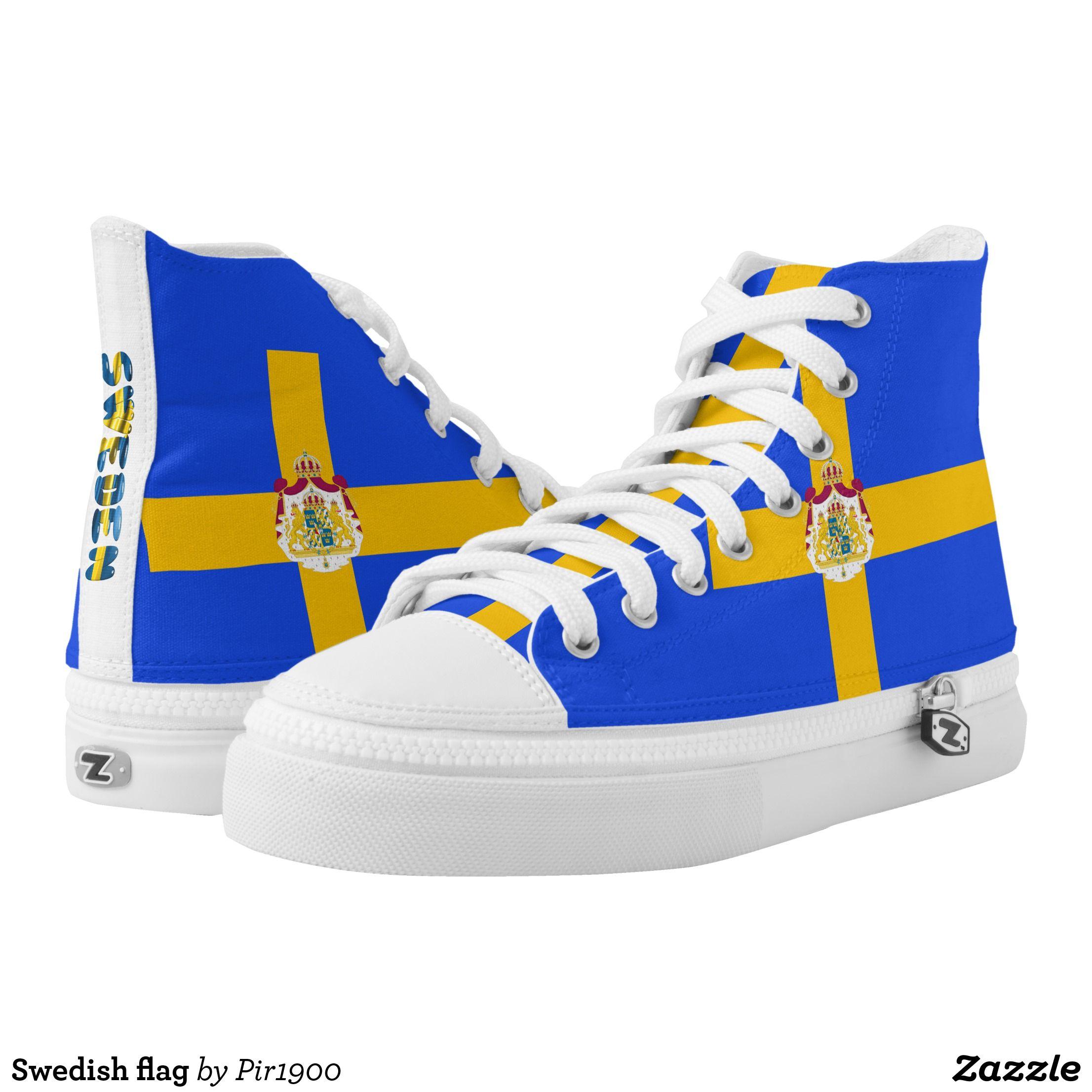 Swedish Flag High Top Sneakers Zazzle Com High Top Sneakers Sneakers Fashion High Tops