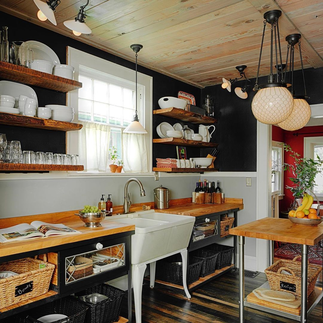 Kami Gray On Instagram Black Walls No Upper Cabinets No Lower Cabinets Giant Globe Lights Over A Tiny Butc In 2020 Recycled Kitchen Kitchen Redo Reclaimed Kitchen