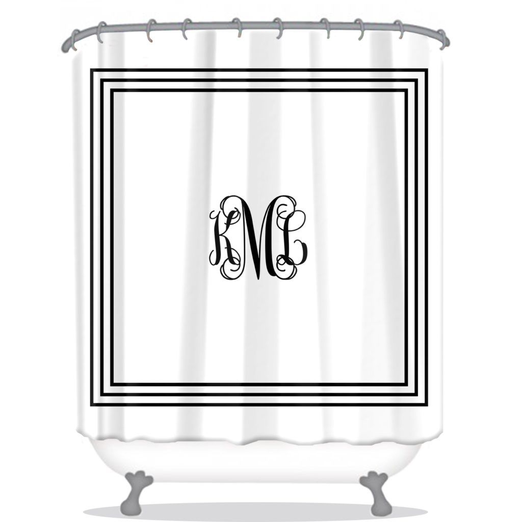 Navy And White Monogrammed Shower Curtain   sea salt decorating ...