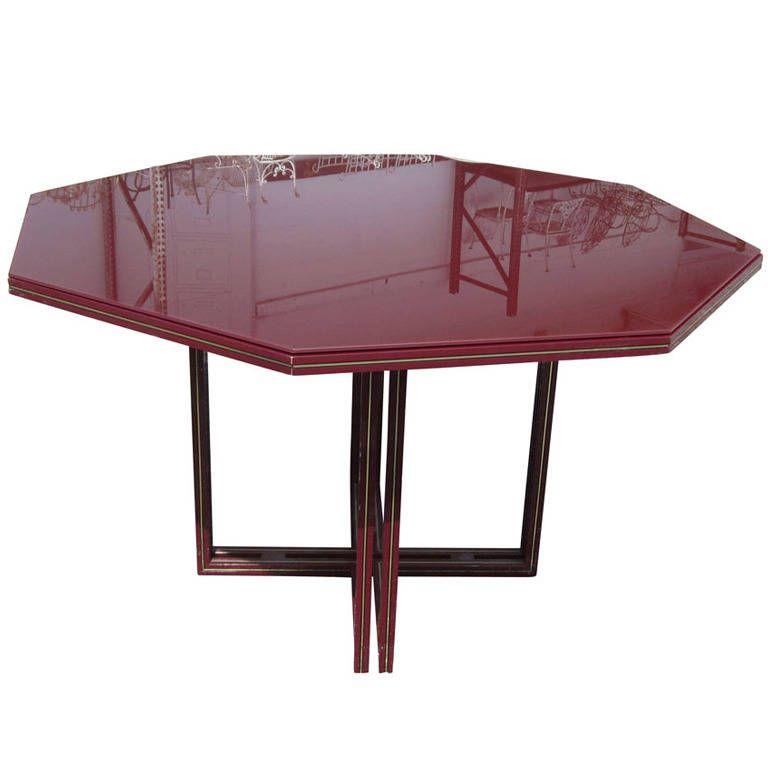 "52"" Vintage Pierre Vandel Octagonal Glass Dining Table at 1stdibs"