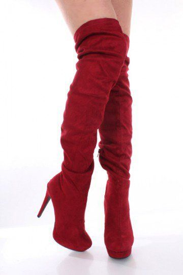 efdb8c9d93 Plum Red Faux Suede Thigh High Platform Heel Boots @ Amiclubwear Boots  Catalog:women's winter boots,leather thigh high boots,black platform knee  high boots ...