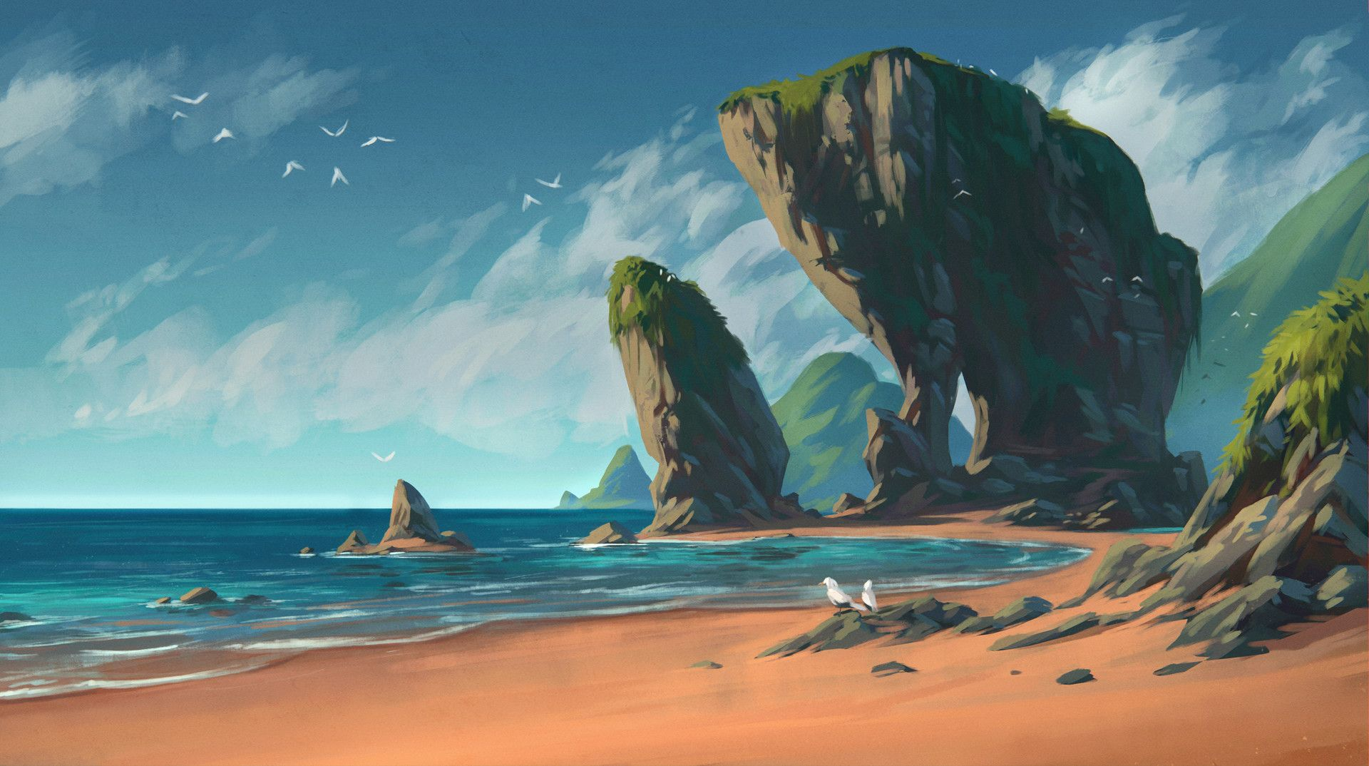 Artstation Tropical Island Beach Todor Hristov Fantasy Landscape Environment Concept Art Beach Landscape