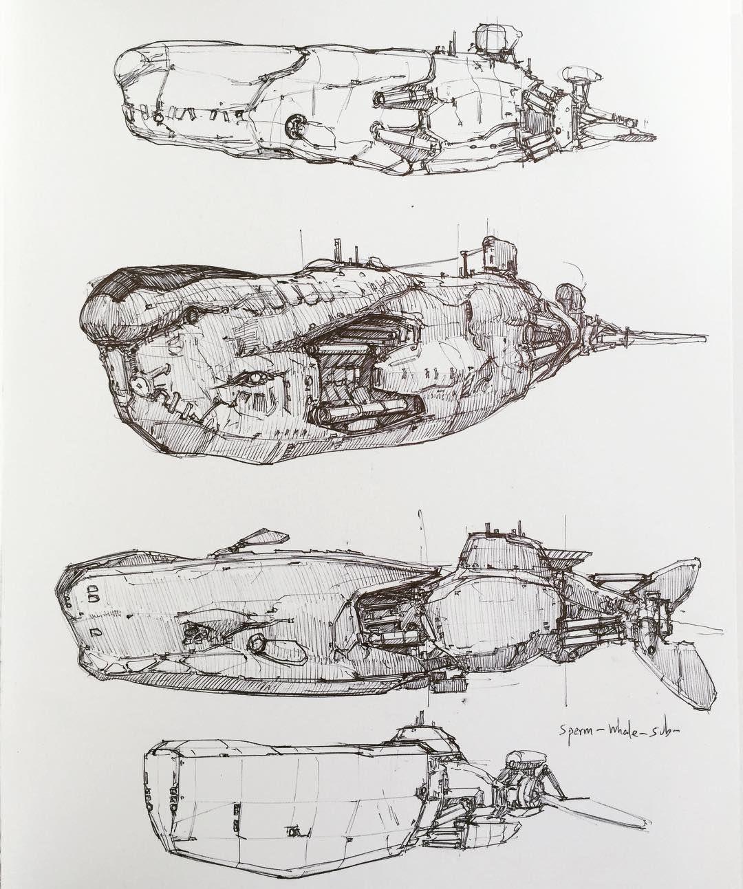 """Longque  Chen on Instagram: """"#submarine #artcentercollegeofdesign #heavyequipment #artwork #art #whales #organicmech #mech #conceptdesign #linework #ballpen #animal…"""""""