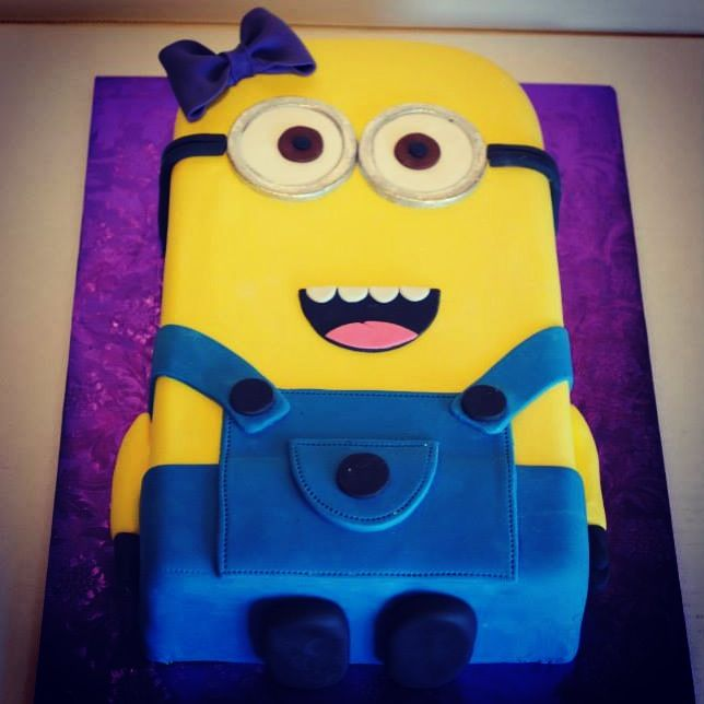 Flat girl minion. Flat shaped fondant cake. | Kid's Cakes ...