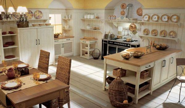 kücheneinrichtung englischer stil weißer küchenschrank korbmöbel
