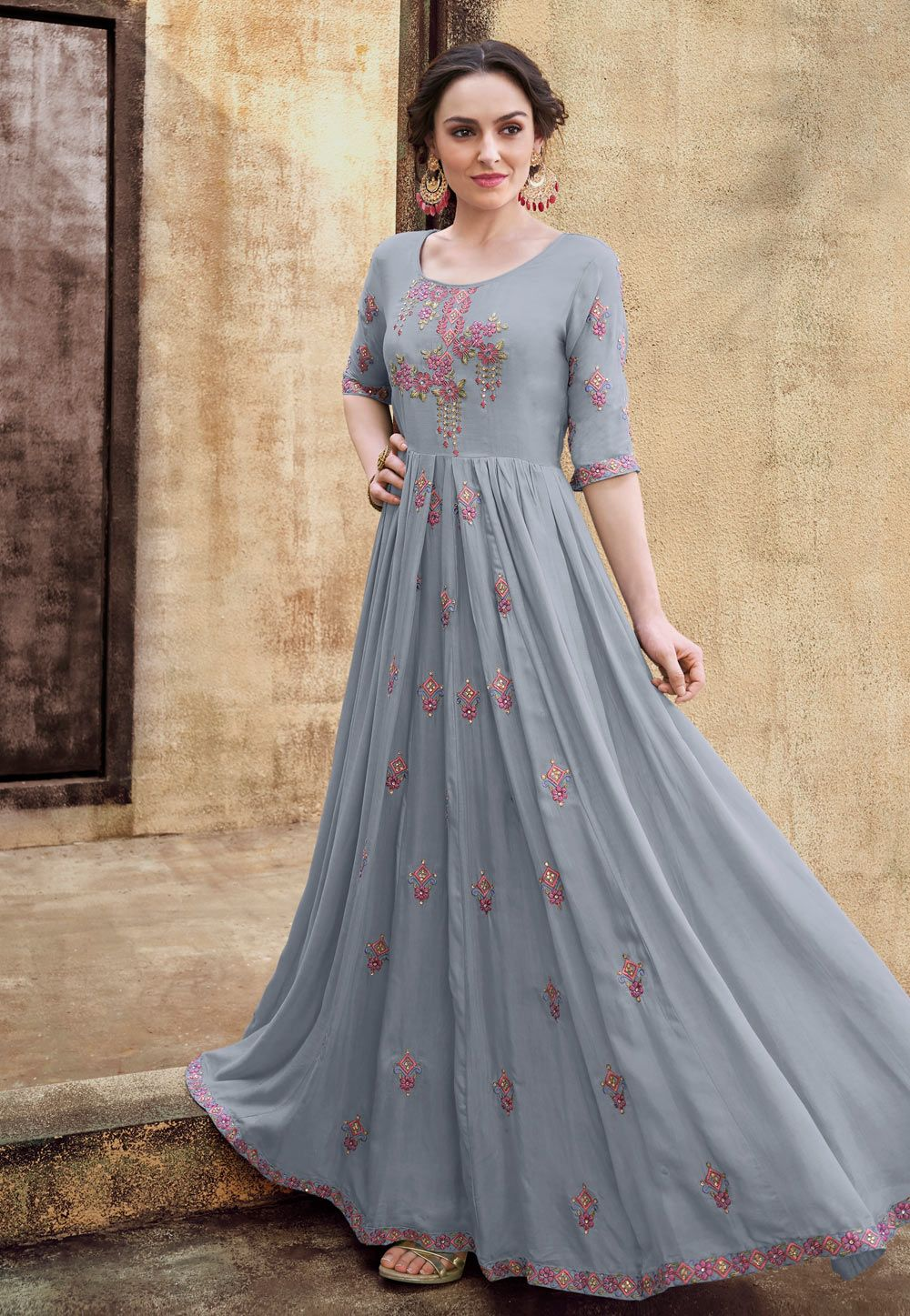 742048590860 Shop Gray Rayon Long Readymade Gown 154366 online at best price from vast  collection of designer kurti at Indianclothstore.com.