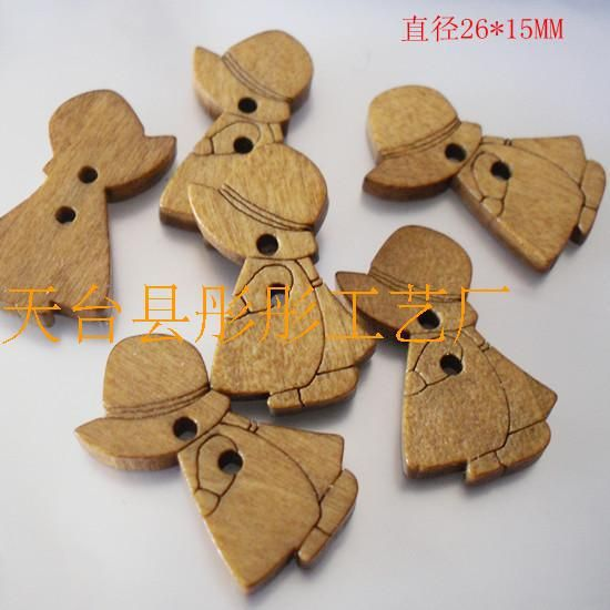 100pcs Paint cartoon girl Wooden Buttons 2 Holes Natural Sewing Button Craft Scrapbooking Products botoes para artesanato * Click on the image for additional details.