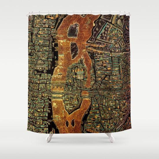 Colorful Antique Map of Paris, 1550 Shower Curtain Bathrooms decor - best of world map bathroom decor