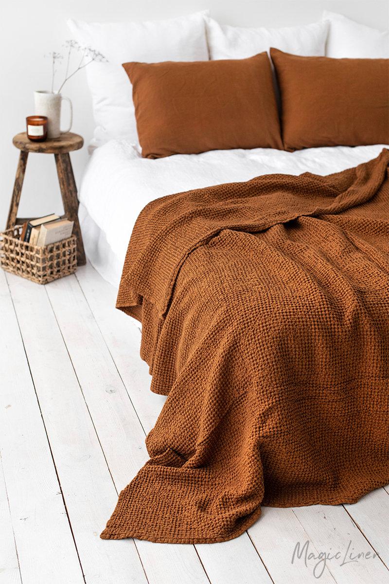 Waffle linen blanket in Cinnamon. Linen throw blan