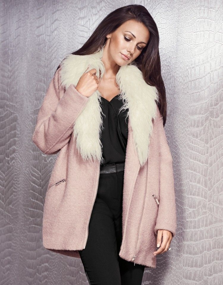 9758c6195c1 Michelle Keegan Faux Fur Trim Coat - Lipsy love Michelle Keegan Autumn  Collection