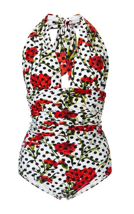 Floral Halter One Piece Swimsuit by Dolce & Gabbana Now Available on Moda Operandi