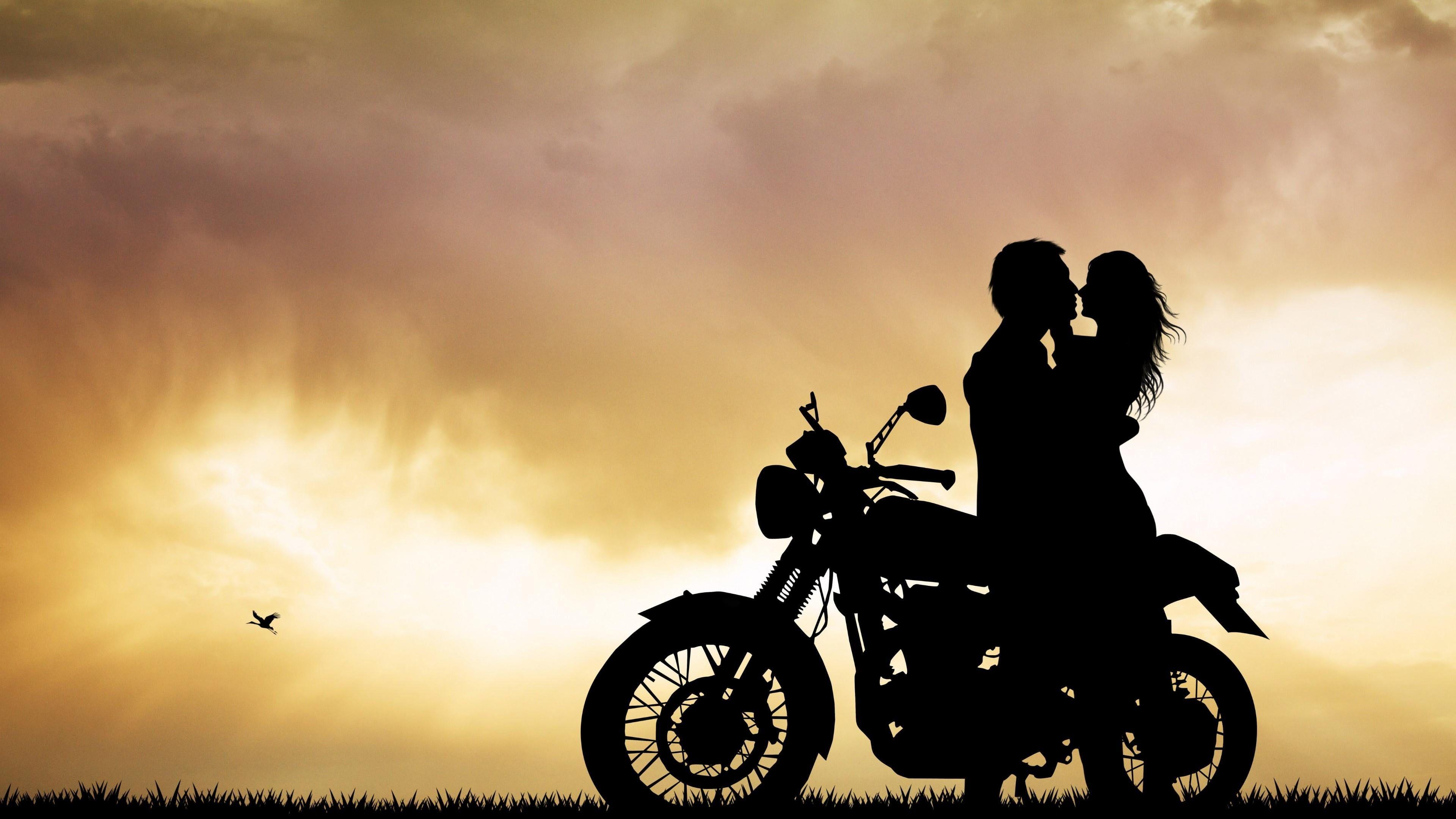 Sky Silhouette Love Cloud Motorcycle Tree Landscape Couple Motorbike Romance 4k Wallpaper Hdwa Man And Woman Silhouette Silhouette Field Wallpaper