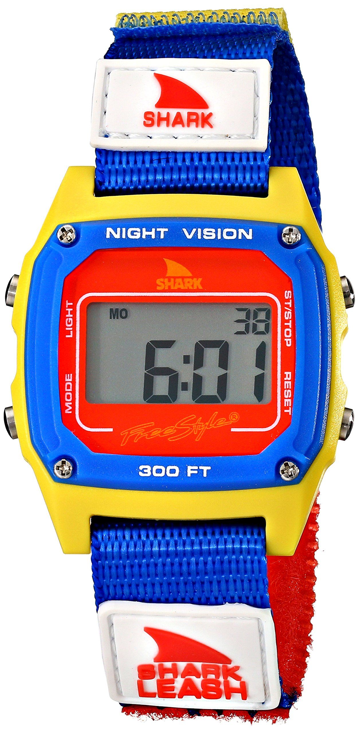 style unisex shark fast strap retro s digital blue style unisex 102243 shark fast strap retro 80 s digital blue and yellow montre amazon
