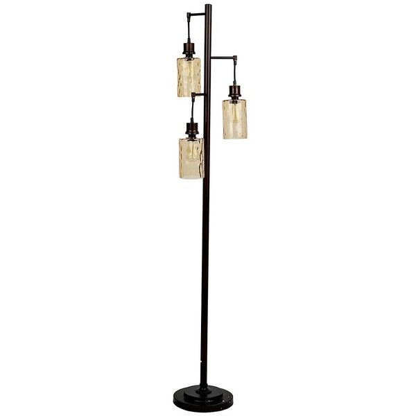 Amber Glass Triple Edison Bulb Floor Lamp (155 CAD) ❤ liked on ...