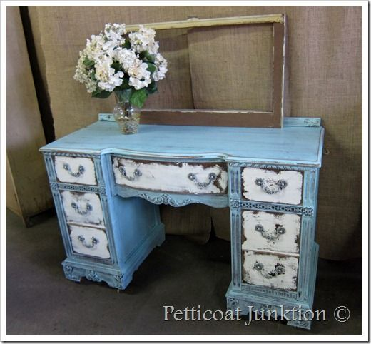 Heavily Distressed Furniture Project In Blue And White Painting Furniture Diy Painted Furniture Distressed Furniture