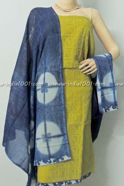 Designer Chanderi  & Cotton Unstiched Suit Fabric