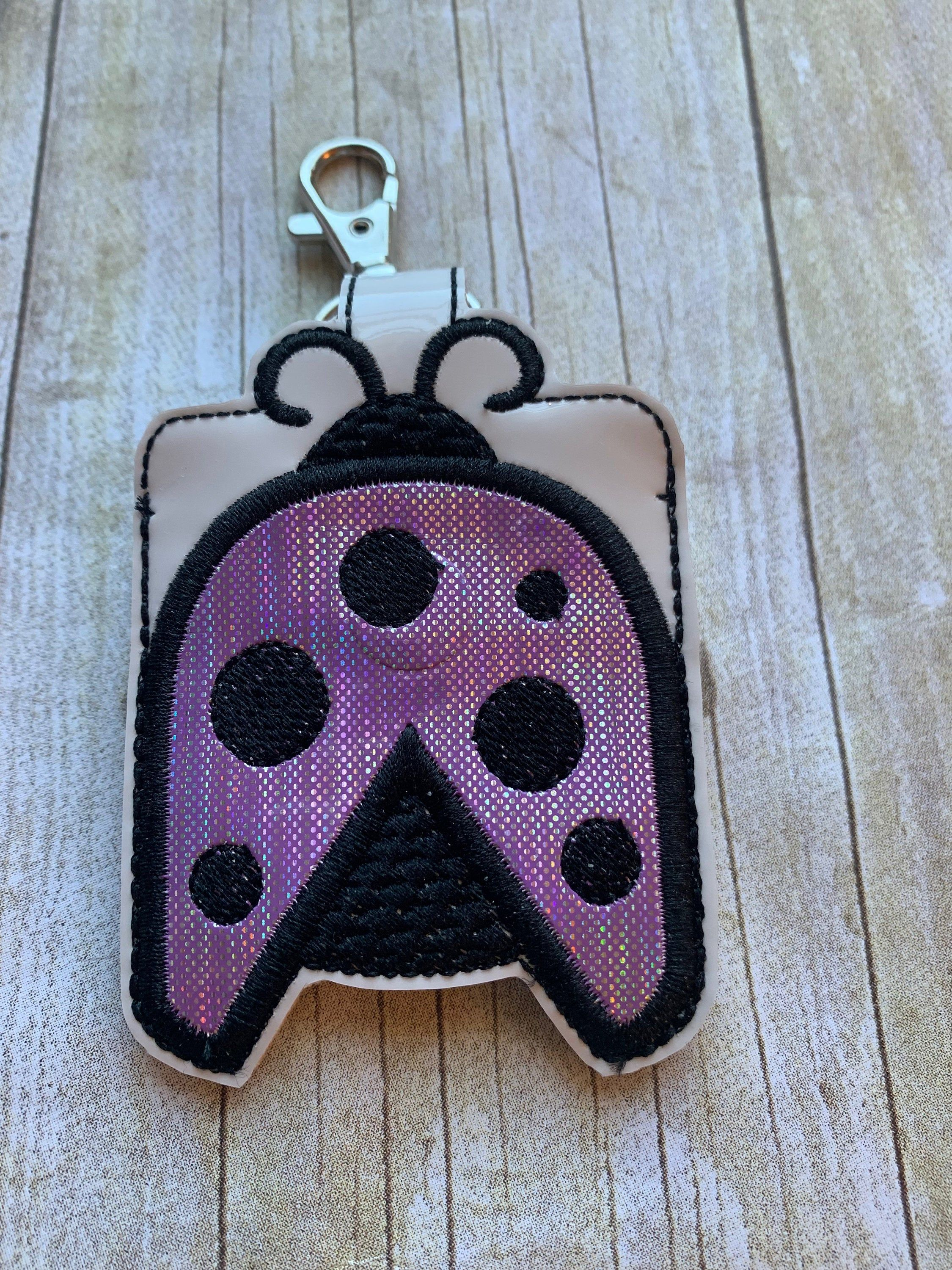 Lady Bug Hand Sanitizer Holder With Purple Glitter Vinyl Wings