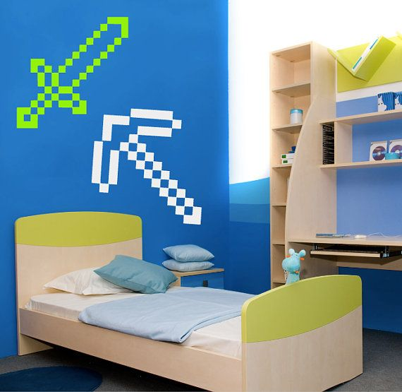 minecraft tools wall decal perfect to help decorate a childs bedroom mix and match the decals to fully personalize your room - Kids Bedroom On Minecraft