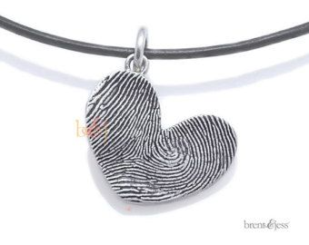 Sterling Silver Round Custom Fingerprint Pendant or by fabuluster
