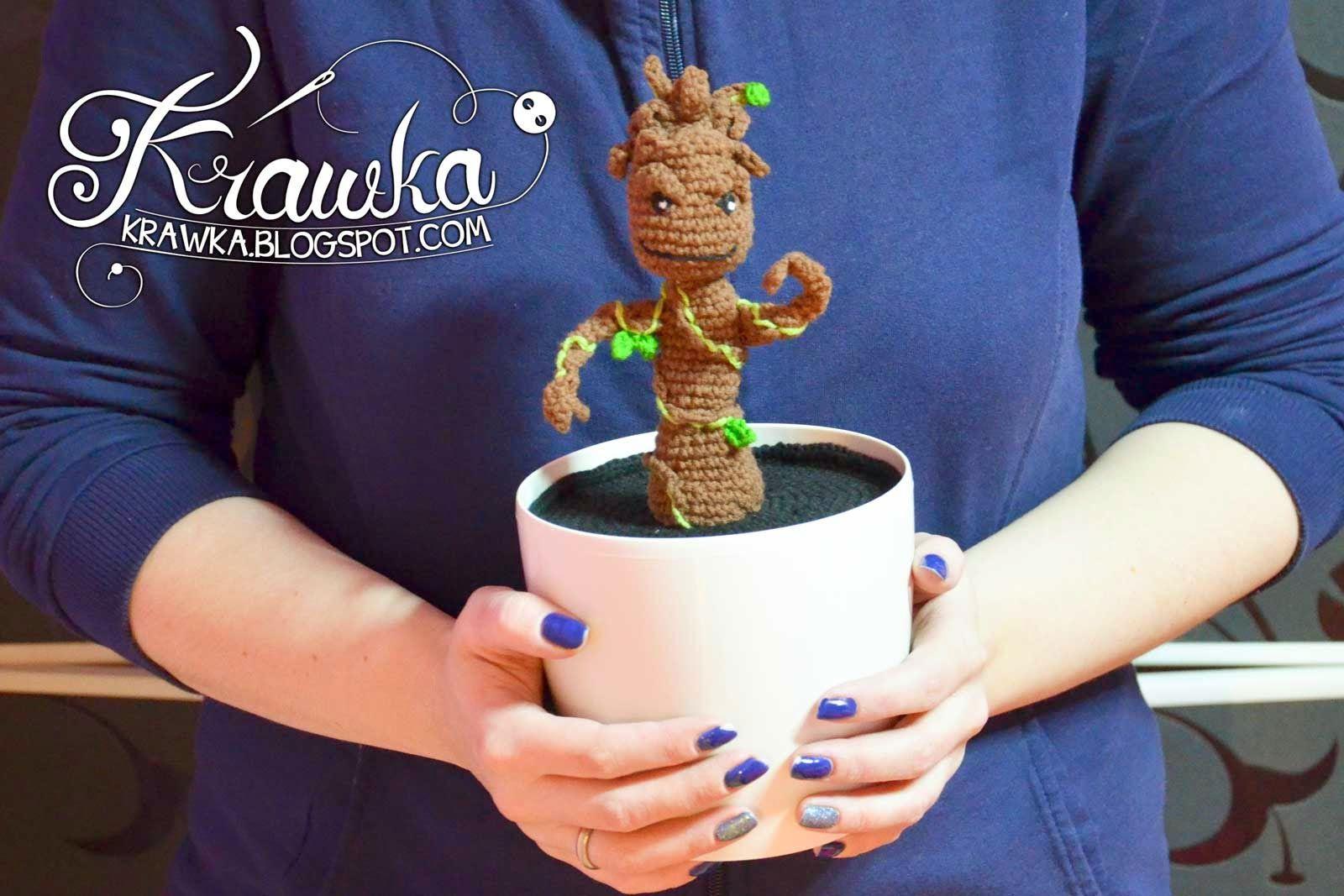 Amigurumi Patterns Groot : Dancing baby groot in pot crochet pattern by krawka crochet
