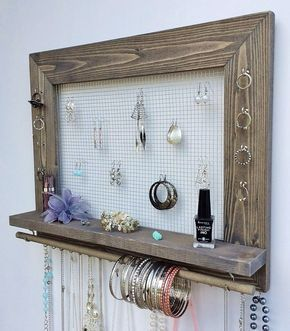 Jewelry Organizer FREE SHIPPING Wood Wall Hanging Rustic Decor