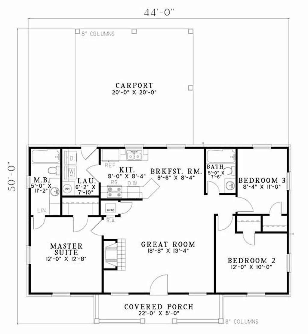 Ranch Style House Plan - 3 Beds 2 Baths 1100 Sq/Ft Plan #17-1162 ...