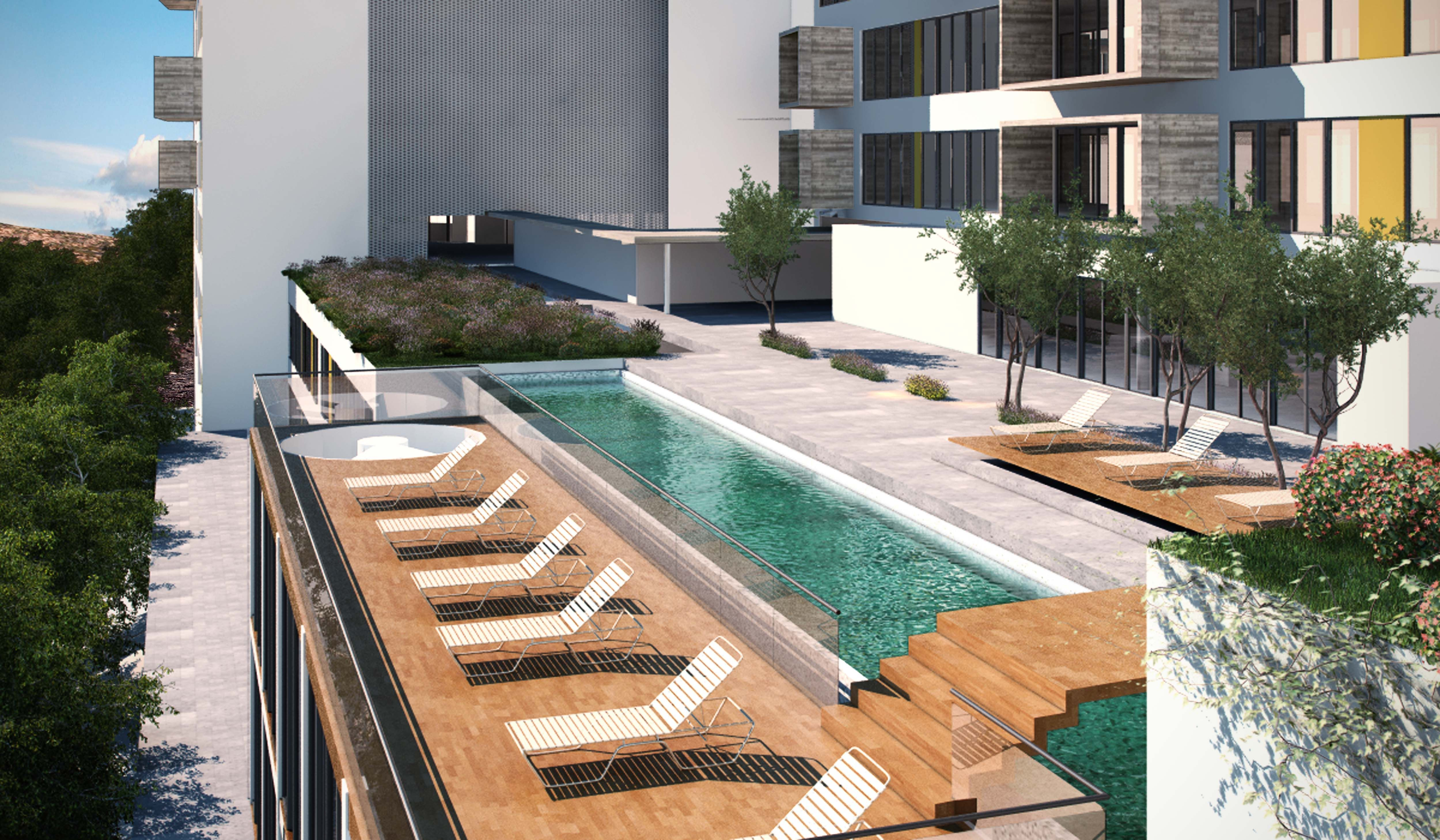 Ideas de edificios de balcon exterior jardin piscina for Exterior edificios